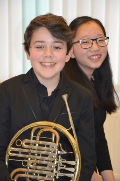 Laeah Eom (Klavier) und Johann Diego Asmus León (Horn), AGr. III, 23 Punkte, Weiterleitung in den Bundeswettbewerb