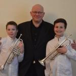 Jonathan Hell und Mattis Dümke,  AGII Blechbläser gleiche Instrumente , 23 Punkte, I Preis mit Weiterleitung